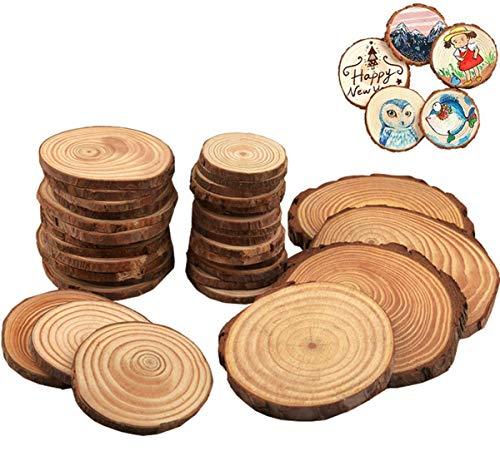 Liuer Rund Natur Holzscheiben 60PCS Holz Log Scheiben mit Baumrinde Unbehandeltes DIY Handwerk Dekoration Holz Tischdeko Hochzeits Weihnachten Baum Anhänger (3-4 cm,4-5 cm,5-6 cm,5MM Dicke) (Von Hängen Decke Der Weihnachten Kugeln)