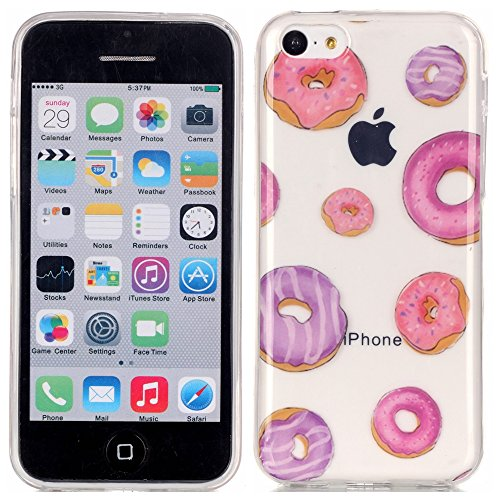 Etui iPhone 5C, Anfire Flexible Souple Soft Case Couverture Housse Protection pour Apple 5C Macaron Motif Mode Etui Coque TPU Slim pour Apple iPhone 5C Mode Anti rayures Mince Transparent Silicone Cov Cerise 2
