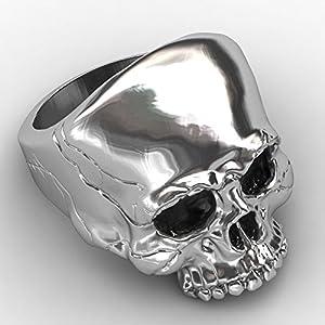 EVBEA Siegelring Skull Ringe für Herren Big Statement Gothic Skull Face Herren Ringe mit Schwarz Fein Geschenk-Box(Matt Vergoldet,9.5)