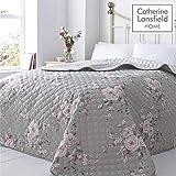 Catherine Lansfield Canterbury Tagesdecke, pflegeleicht, Polyester, grau, Bedspread - 240x260cm