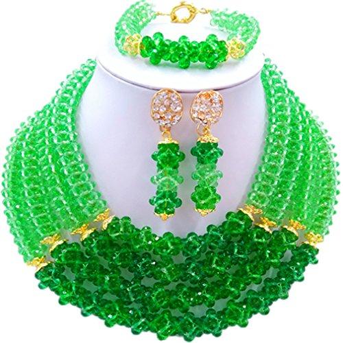 Laanc Naturel Cristal Bijoux Définit 4rows 45,7cm Collier du Nigeria Mariage africain Bracelet de perles Boucles d'oreilles Green and Pale Green