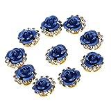 Baoblaze 10 Pezzi Cucire Fiore Oro Tono Strass Pulsanti Abbellimenti Accessori Bouquet Da Sposa Per La Decorazione Di Abbigliamento E Artigianato Fai Da Te - Profondo blu, come descritto