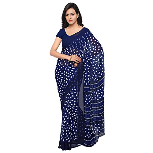 GoodFeel Polka Dot Print Fashion Chiffon Saree For Women (Luv-Blue_Blue)  available at amazon for Rs.520