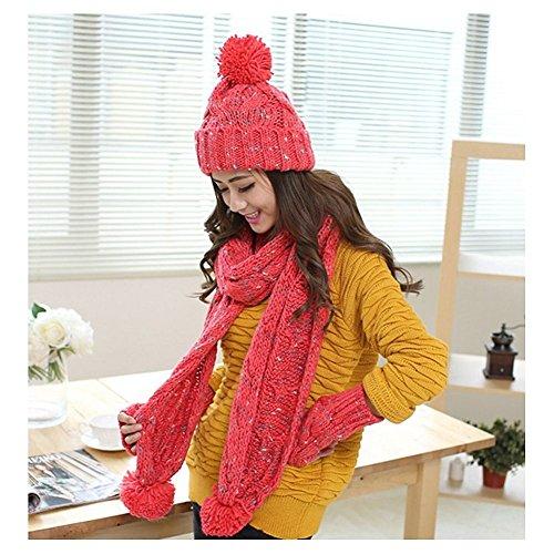 Lazutom - Ensemble bonnet, écharpe et gants - Femme red
