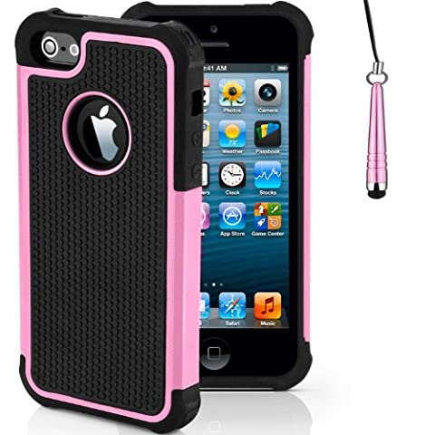 Baby Pink iPhone 5-5s Shockproof Robust Case Durable Tough Builders Cover | Offers Improved Grip with Free Screen Protector and New Stylus Pen | Cases Covers and Accessories for Apple iPhone 5-5s by iChoose®