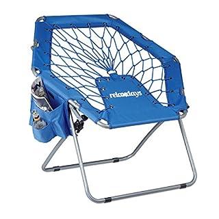 Relaxdays Bungee Stuhl WEBSTER, elastisch, Faltbar, bis 100 kg, Seitentasche, Outdoor Gartenstuhl, Klappstuhl, Blau
