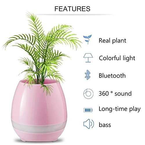 Best Deals - Music Flowerpot, Wireless Smart Bluetooth Speaker, Smart Intelligent LED Vase Lamp, Touch Playing the Piano, Home Decor.