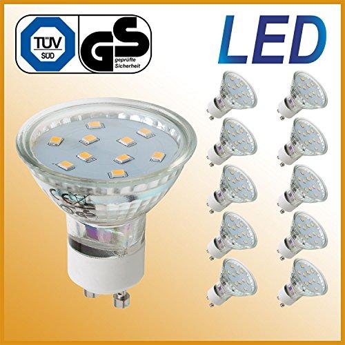 LED Lampe GU10 3 Watt 250 lume ersetzt 35 Watt Halogen warmweiß 10er Set LED Leuchtmittel Energiesparlampe Glühbirne LED Glühlampe LED Birne