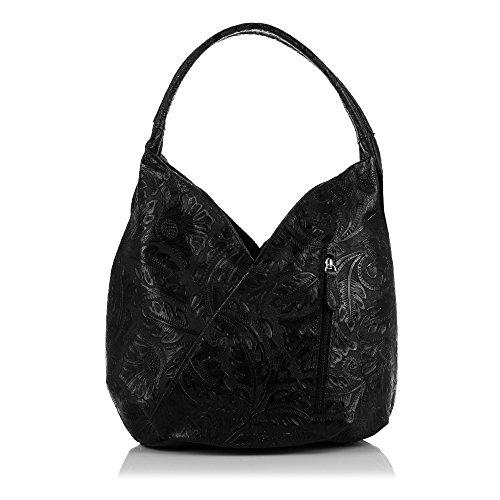 -Firenze Artegiani Sac à Main en Cuir Italien véritable laqué avec Gravure Motif Floral Noir 33x 33x 18cm-