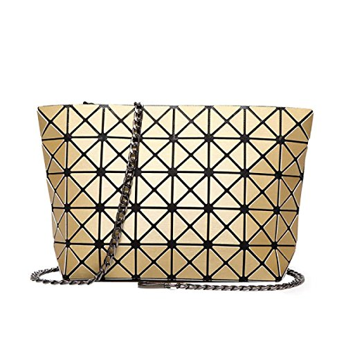 Spalla Delle Donne Del Sacchetto Piazza Borsa Cubo Geometria Fashion Bag Gold