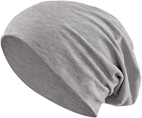 Jersey Baumwolle elastisches Long Slouch Beanie Unisex Mütze Heather in 35 (3) (Heather Grey)