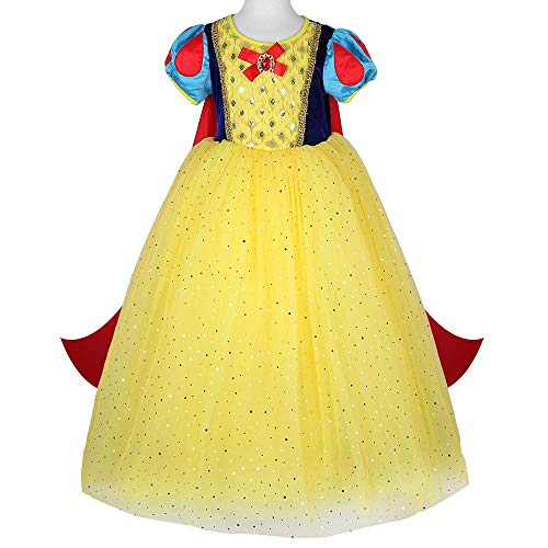 Disney Prinzessin Kostüm Leia - DXYQT Cosplay Anime Kostüm Leistung Kostüm Prinzessin Kleid Fluffy Halloween Party Kostüm Kostüm World Book Day Kostüme für Mädchen,Yellow-120cm