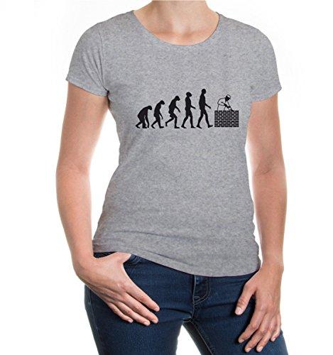 buXsbaum® Girlie T-Shirt The Evolution of Bricklayer Heathergrey-Black