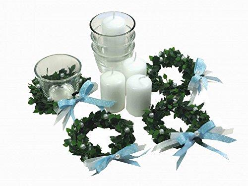 4er SET Kerze Votivglas Kerzenring Hellblau Junge Kommunion Taufe Tischdeko Geburt Kerzendeko - 2