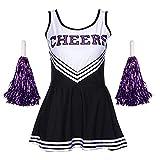 Tancurry Mädchen Damen Kostüm Kleid Mit 2 Pompoms Cheerleading Bekleidung Fasching Party Halloween Cheerleader Kostüm