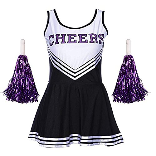 Fett Cheerleader Kostüm - Tancurry Mädchen Damen Kostüm Kleid Mit 2 Pompoms Cheerleading Bekleidung Fasching Party Halloween Cheerleader Kostüm