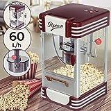 Popcornmaschine Retro - 60L/h, 200g/10min, Edelstahl Topf, für salziges Popcorn - 50er Jahre Look, Profi Popcorn Maker, Zubereiter, Automat