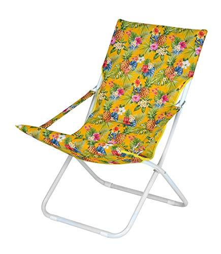 Enrico coveri collection sedia sdraio moderna canapone pieghevole in acciaio e tessuto ananas e fiori imbottito, sedia ideale per giardino, esterno e mare (giallo)