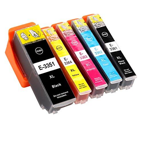 Azprint 5er Set Kompatibel Epson 33XL Druckerpatronen Hohe Kapazität mit Chip für Epson XP-640 XP-530 XP-830 XP-645 XP-540 XP-900 XP-630 XP-635 Drucker | 1 Schwarz, 1 Foto schwarz, 1 Blau, 1 Rot, 1 Gelb