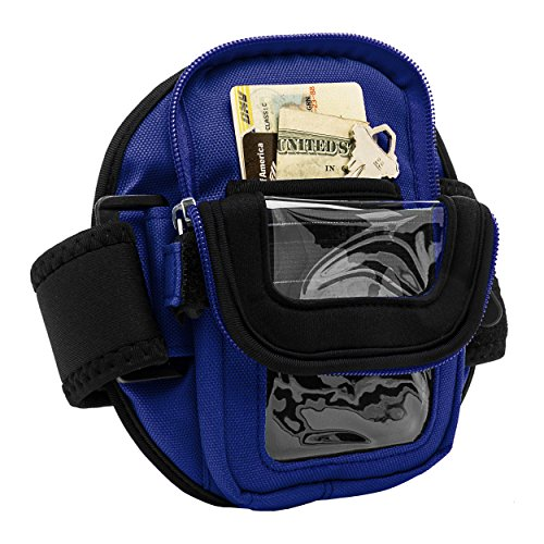 Cellphone Zippered Armbelt Built In Pouch for Cards Money Keys While Sport & Gym Fit Most Arm Sizes for ASUS Zenfone Live/3s Max/Pegasus 3s/AR/3 Zoom + Waterproof Pouch Blue