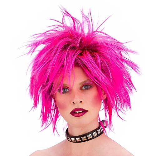 Unisex Hot Pink Punk Wig. Ideal for 70s or 80s look