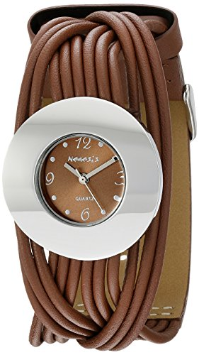 Nemesis Women's NS215B Brown Tangled Series Leather Band Analog Display Japanese Quartz Brown Watch