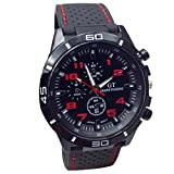 yistu Herren Armbanduhr, Cooles Sport-Armbanduhr Unisex Militär Uhren, unisex, rot