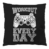 style3 Gamer Workout Coussin avec remplissage, housse en coton, 28x28 cm, Couleur:Schwarz