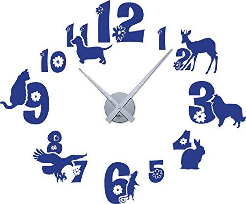 Graz Design Tattoo Wanduhr inkl. Uhrwerk Wanddeko für Kinderzimmer Zahlen Tiere Hund Hase (69x57cm//086 brillantblau//Uhrwerk silber)