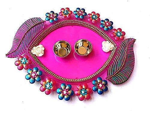 Anayas-Studio-Designer-Rakhi-ThaliRakhi-Plate-Handmade-Handpainted-Acrylic-Decorative-Haldi-Kumkum-Pooja-ThaliSet-Platter-for-Raksha-bandhan-8-4inches-Multicolour