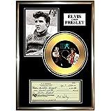"ELVIS PRESLEY - "" SIGNED CHEQUE "" FRAMED GOLD VINYL CD & PHOTO DISPLAY"