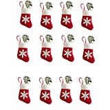 12Pcs Mini Christmas Stocking Dinnerware Cover Xmas Knife And Fork Bags Supplies