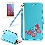 Girlyard Lederhülle für Huawei P10 Lite Wallet Flip Case, Elegant Bunte Schmetterling Muster Design Schutzhülle mit Lanyard Strap Handyhülle Standfunktion Karteneinschub und Magnetverschluß Etui