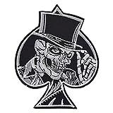 Hongma 1PCS Toppa Ricamato Toppe Patch Applique con Ferro da Stiro Skull Carte da Poker Sticker per Vestito Cappello Scarpe Jeans