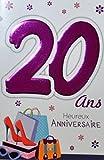 Age Mv 69-2022 Carte Anniversaire 20 ans Fille Jeune Femme motif Chaussures Talons aiguilles Mode Shopping Sac à main Lunettes de soleil Star Fleurs