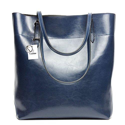 Yoome Borsa da donna vintage in vera pelle borse a spalla in vera pelle morbida vacchetta borse vera borsa in pelle - Borgogna Blu