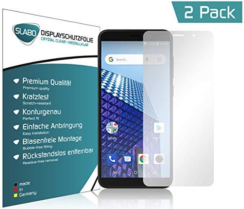 Slabo 4 x Bildschirmschutzfolie für Archos Access 57 Bildschirmfolie Schutzfolie Folie Zubehör (verkleinerte Folien, aufgr& der Wölbung des Bildschirms) Crystal Clear KLAR - unsichtbar Made IN Germany
