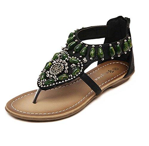 Damen Sandalen Strass Schuhe Knöchelriemen T-Strap Flache Sandalen Thong Sommerschuhe Strandschuhe Schwarz