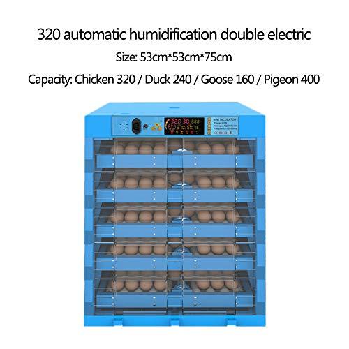 JZWX Ei-Inkubator Transparent 48/64/128 Ei Automatischer intelligenter Dual-Power-Inkubator Hühner- und Entensetzlinge Blau,B,320eggs
