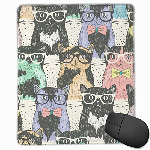 Medium Hipster (Hipster Cute Cats Wear Sunglasses Rectangle Non-Slip Rubber Mouse Pad with Stitched Edges)