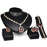 Set di gioielli, spose nuziali waterdrop rubino cluster cubic zirconia cz con collana pendenti, bracciale, orecchini, anello moda donna set di gioielli palla