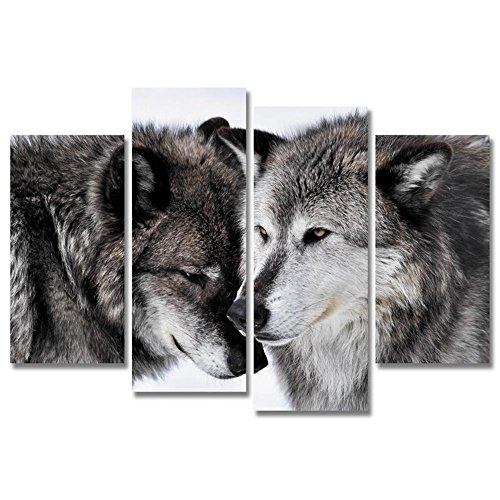 JAJUQH Lobo Arte lienzo 4pcs modernos cuadros de pared animales pintura póster impreso en la decoración del hogar con la pintura de la pared del bastidor,1
