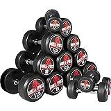 GORILLA SPORTS® Kurzhantel Set/Einzeln Gummi 2-50 kg – Rundhantel mit Beschichtung und ergonomischen Chrom-Griff in 16 Gewichtsvarianten