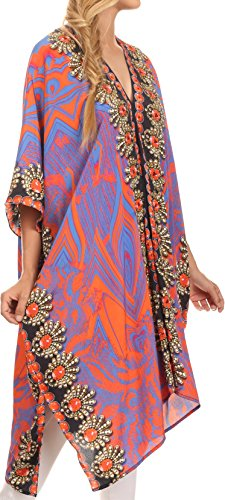 Sakkas Libra Robe Longue Caftan/Robe de plage avec Motif Tribal Strass et Col en V Orange / Navy