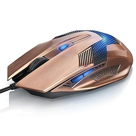 CSL – Souris filaire USB SCORPION (aspect cuivré) | souris optique USB (liée au câble) | Haute précision | Réaction rapide | Design ergonomique | 6 touches | Fiches dorées | Plug & Play | Compatible avec Windows 10