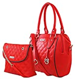 Flying Berry Women's Faux Leather Hand Bag Combo Pack (Red)