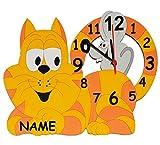 ' Katze mit Maus ' Wanduhr - lautlos - incl. Name - Uhr aus Holz - 37 cm groß - lautlos + ohne ticken - Analog Holzuhr Uhren - Quarz - für Jungen Mädchen Kinder / Kinderzimmer Kinderuhr / Kätzchen Mäuse Katzen Tiere