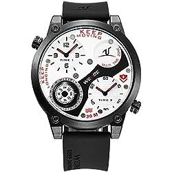 Alienwork DualTime Quartz Watch Multi Time Zones Wristwatch XXL Oversized Polyurethane white black OS.UV1505-7