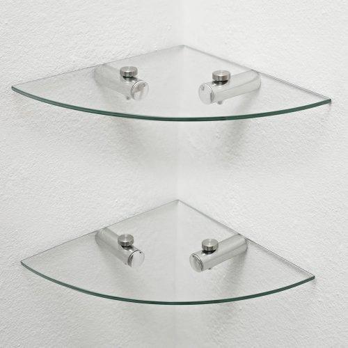 2 x Glas Ecke Regale, Badezimmer-Regale, Küchenregale, Lager - 2 Regal Glas Regal