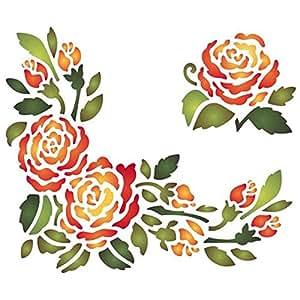 Stencil d 20x15 cm centro e angolo rosa stamperia ksd81 for Stencil x cucina